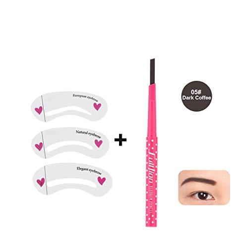 1Pc Eyebrow Pencil Longlasting Waterproof Durable Automaric Eyebrow Liner+3 Eye Brow Shaping Stencils Grooming Makeup Tools Kits dark coffee with car (Best Car Lock Malaysia)