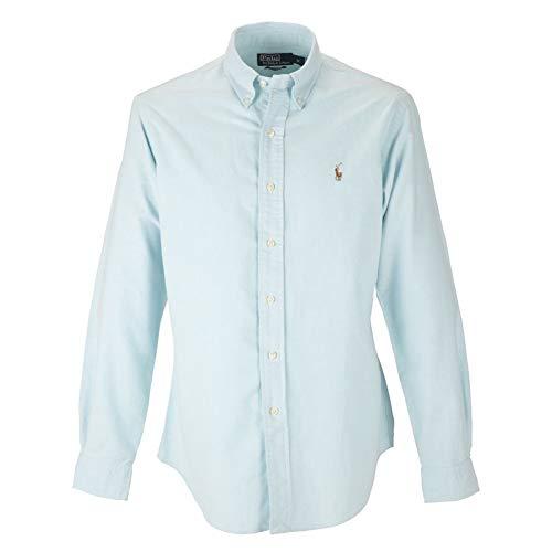 RALPH LAUREN Polo Mens Long Sleeve Oxford Button Down Shirt-Aegean - Down Shirt Button Sleeve Oxford Long