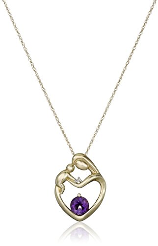 [10k Yellow Gold Mother's Jewel Citrine Amethyst Pendant Necklace with Diamond Accent, 18