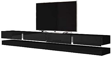 Aviator - Mesa Flotante para TV/Mueble TV Colgante/Unidad de Pared para TV (2X 140 cm, Negro Mate/Frentes Negros en Brillo): Amazon.es: Electrónica