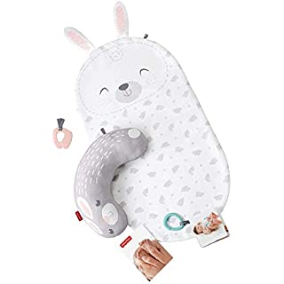 Fisher-Price Baby Bunny Massage Set, Newborn Tummy Time Playmat