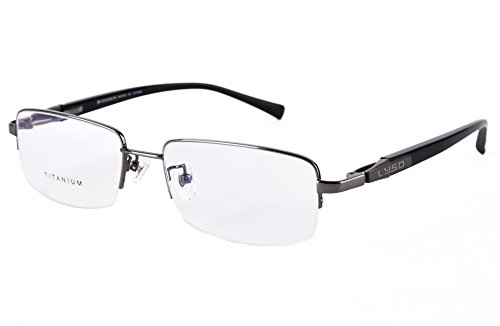 Agstum Titanium Half Rim Glasses Frame Prescription 55-18-145 (Gunmetal)