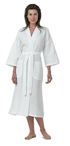 Pure Linen Turkish Waffle Kimono Style Adult Unisex Bathrobe, White, Large Bed Head Kimono Robe