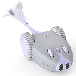 DADYPET Interactive Robotic Cat Toy, Mouse Shape Automatic Irregular Moving USB Rechargeable Electronic Toy with 5 Replacement Feathers for Kitten, All Floors Available