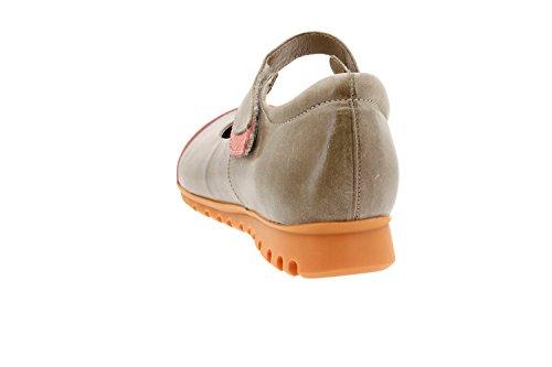 Calzado mujer confort de piel Piesanto 8527 zapato velcro plantilla extraíble cómodo ancho Orange
