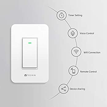 Smart Wi-Fi Light Switch Single-Pole TECKIN Smart Wall switch,Voice Control,Remote Control,Work with Alexa,Google home and IFTTT,Schedule and Timer,Easy Installation,No Hub Required