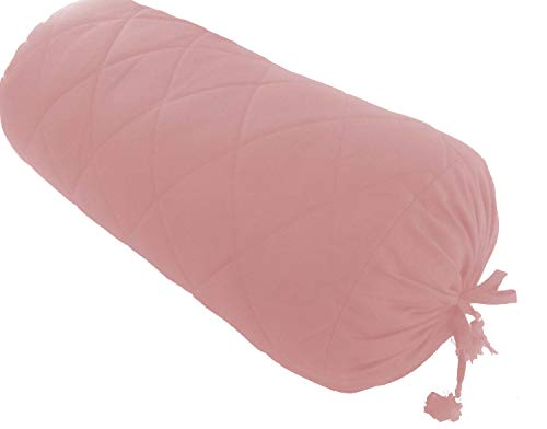 (Baby Pink Long Quilted Bolster Pillowcase - Yoga Massage Round Quilted Bolster Cover for Bed Sofa Chair Couch Lounge Cotton 9