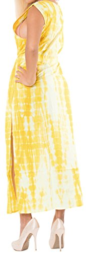 Para Playa Chaqueta Bikini Anudado La b97 Leela Punto Kimono Algodón Capa Teñido Mujer Amarillo Punta De Largo Camisa Cubren 1F7wvq