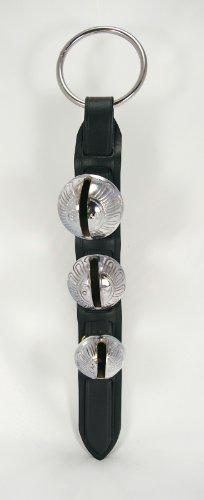 (Premium Black Leather Brass Chrome Plated Silver Bells Door Knocker Decoration)