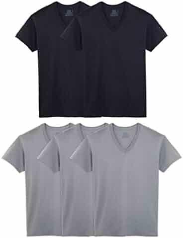 Fruit of the Loom Men's Tucked V-Neck T-Shirt (5, X-Large (46-48) Chest Black/Gray 5 Pack