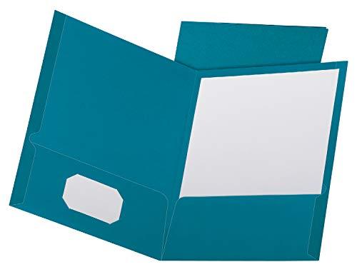 Oxford Linen Finish Two-Pocket Folders, Teal, Letter Size, 25 per Box