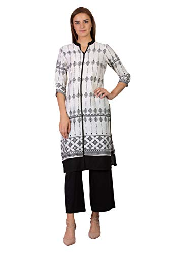 SABHYATA Women's Material:100% Pure Artifical Silk Neck Type:Chinese Neck Large Off-White
