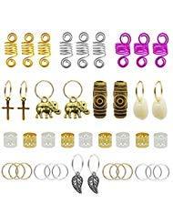 120pcs Dredlock Beads Accessories, Grosun Hair Charms Pendants Hair Rings Braid Cuffs Braid Hair Accessories Braid Jewelry...