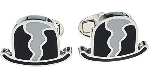 (BURBERRY Men's Black Bowler Hat & White Enamel Silver Tone Cufflinks with Gift Box)