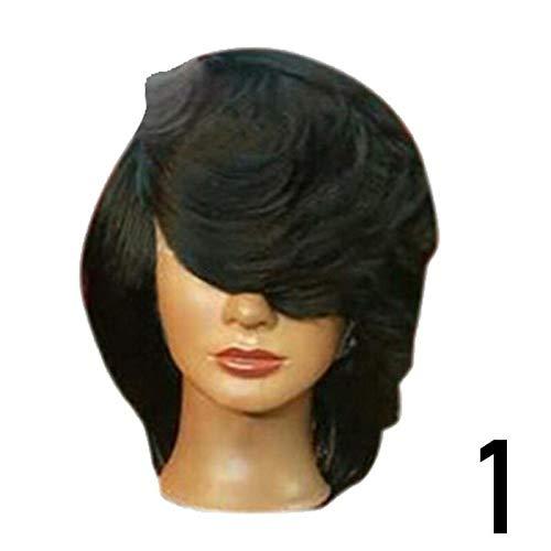 FidgetFidget Fashion Women Medium Side Part Straight Feathered Bob Synthetic Short Wig Black