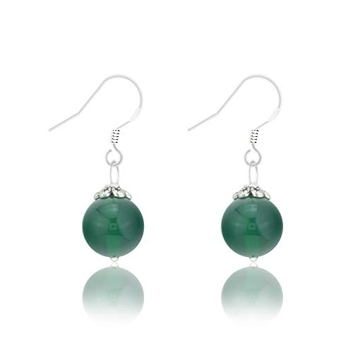 Natural Gem 925 Sterling Silver Earrings Chalcedony Clear Crystal Agate Bead Drop Stone Earrings with Hypoallergenic Hook