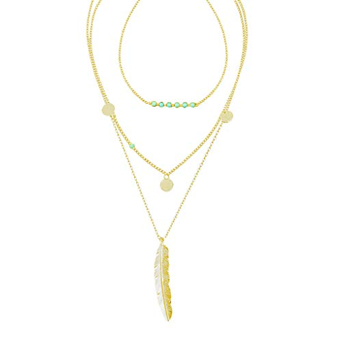 CULOVITY Womens Exquisite Multilayer Turquoise Necklaces - Beads Sequins Feather Pendant Jewelry Gold-Tone (Turquoise Bead Lariat)