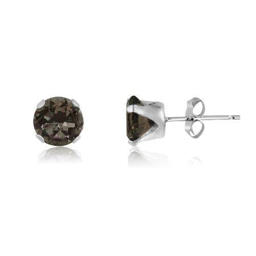 Round 7mm Sterling Silver Genuine Smokey Quartz Stud Earrings, Free Gift Box included (Jewelry Silver Quartz Box Smoky)
