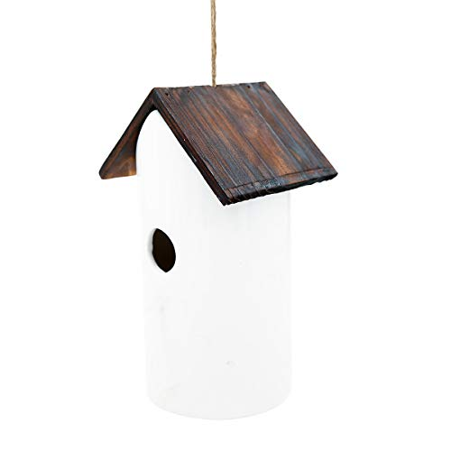 Ceramic Birdhouses - Bird House White Ceramic and Wooded Restful Birdhouse for Outdoor Yard Garden Porch Patio Country Decor, Restful