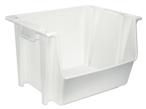 United Solutions SB0041 Large Plastic Nesting/Stacking Rough and Rugged Storage Bin in White-Multi Use White Vertical Storage Bin for Garage (Large Stacking Bin)