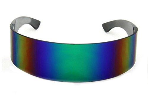 Futuristic Glasses (WebDeals - Futuristic Wrap Around Monoblock Cyclops Shield Sunglasses (Green Tint)…)