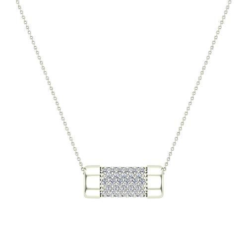 18K White Gold Necklace Pavé Diamonds Eternity Contemporary Capsule Shape Pendant 3/4 Carat Total - 18k Necklace Eternity Diamond White Gold