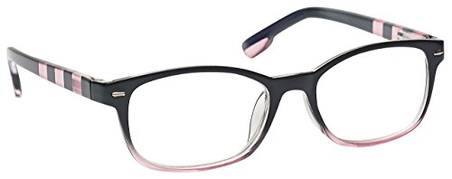 (The Reading Glasses Company Black Soft Pink Stripe Readers Womens Ladies Spring Hinges R40-4 +1.50)