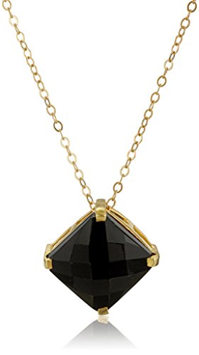 Gold Over Silver Prong Set Black Onyx Pendant Necklace, 18