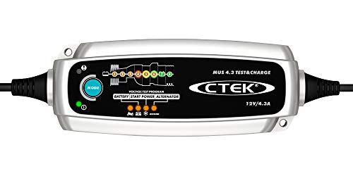 CTEK 56-959) Silver MUS 4.3 Test & Charge 12 Volt Fully Automatic Charger and Tester ()