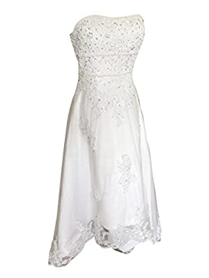 Lantesi Women's Lace Tulle Pearls Knee Length Wedding Dress