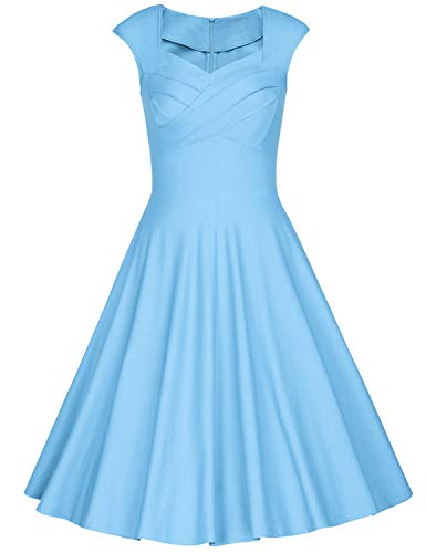 MUXXN Audry Hepburn Style Cut Out Neck Solid Color Graduation Party Midi Dress for Women (Airy Blue XXL)