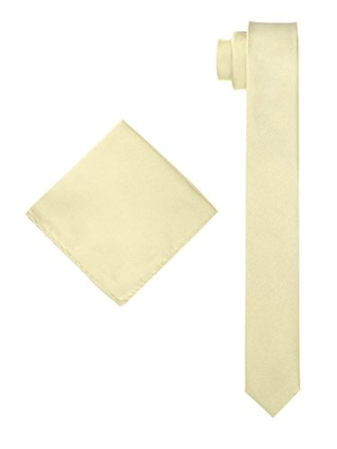 Men's Solid Slim Necktie with Matching Pocket Hanky - Light Champagne