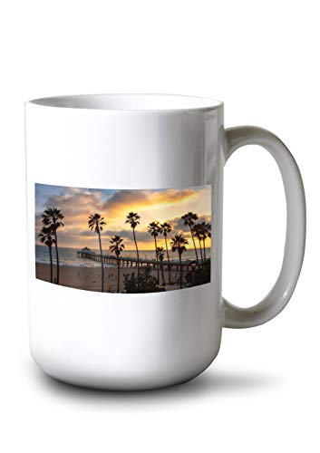 - Lantern Press Los Angeles, California - Manhattan Beach and Pier - Photography A-92157 (15oz White Ceramic Mug)
