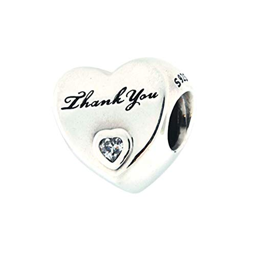 Romántico Amor Heart Love Thank You Charm 925 Sterling Silver Clear CZ Bead fit Pandora Bracelets (Rhinestone Pandora)