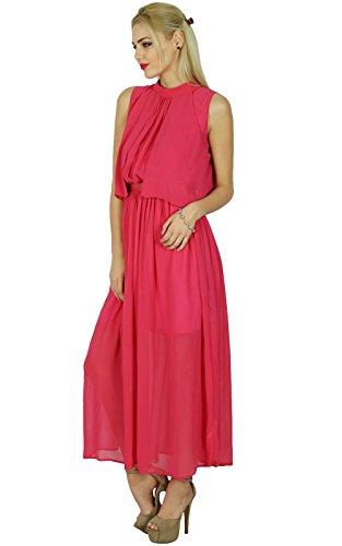 (Bimba Women Long Pink Georgette Maxi Half Lined Sheer Dress Boho Chic Clothing)