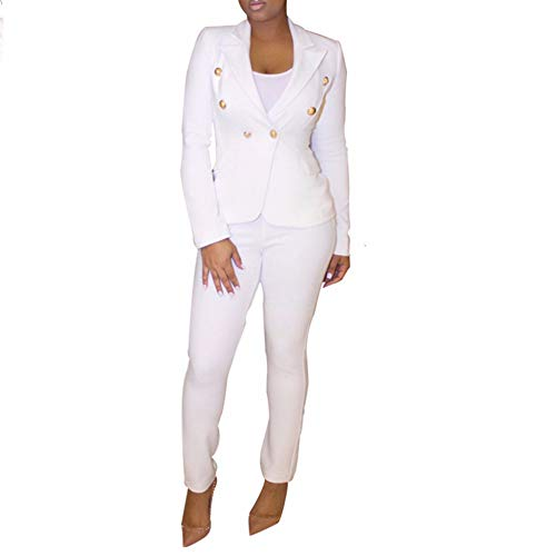 Women's Novelty Open Front Blazers with Pants 2 Piece Blazer Sets Long Sleeve Suit Tracksuit White X-Large