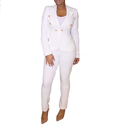 Tracksuit Women Long Sleeve Blazer Jacket Coat and Pants 2 Piece Set Suit Slim Fit Bussiness Coat and Pants Set White ()