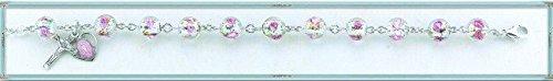 8mm Murano Venetian Glass Crystal Flower Sterling Silver Rosary Bracelet
