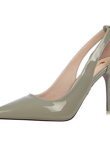 GGX/ Damen-High Heels-Kleid-Kunstleder-Stöckelabsatz-Absätze / Spitzschuh / Geschlossene Zehe-Schwarz / Braun / Lila / Rot / Weiß / Silber / gray-us6 / eu36 / uk4 / cn36
