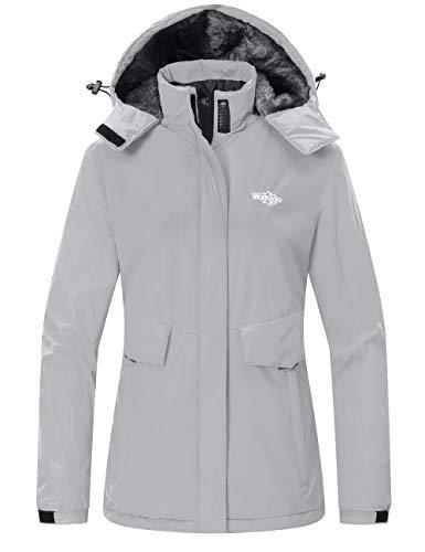 Wantdo Women's Waterproof Ski Jacket Warm Winter Coat Windproof Snow Coats Warm Fleece Raincoat