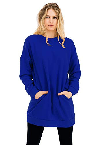 NANAVA Casual Loose Fit Long Sleeves Over-Sized Crew Neck Sweatshirts Deep Blue L/XL ()