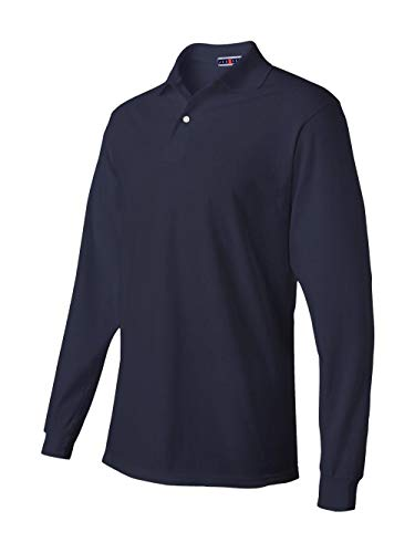 Jerzees Men's Jersey Long Sleeve Polo with Spotshield, J Navy, Small ()