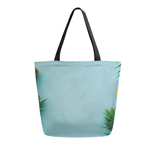 Summer Yellow Tripical Fruit Pineapple Palm Portable Large Double Sided Casual Canvas Tote Bags Handbag Shoulder Reusable Shopping Bags Duffel Purse For Women Men Grocery Travel