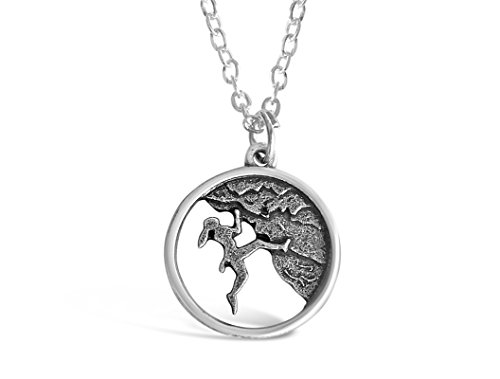 Rosa Vila Rock Climber Necklace, Round-Shaped Charm, Adventure Gifts for Women, Inspirational Jewelry, Mountain Pendant Necklace, Ideal As Rock Climber Gift, Camping Accessories for Women