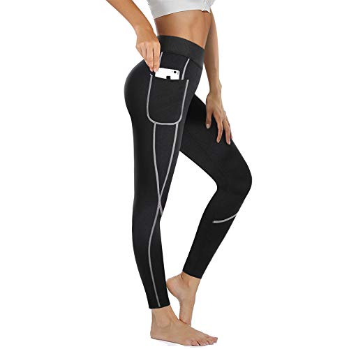 (Rolewpy Women Sweat Sauna Weight Loss Hot Neoprene Pants Workout Fat Burner Thermo Slimming Leggings with Side Pocket (Black, X-Large (US 14)))