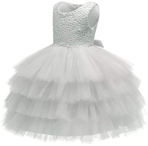 Jup'Elle Baby Girl Dresses Extra Soft Crochet Lace Ruffles Pageant Wedding Party Flower Girl White Dresses 18-24months