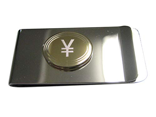 Kiola Designs Gold Toned Etched Oval Japanese Yen Currency Sign Pendant Money Clip (Japanese Money Clip)