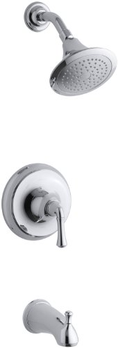 (KOHLER K-T10274-4A-CP Forte Rite-Temp Pressure-Balancing Bath and Shower Faucet Trim, Polished Chrome)