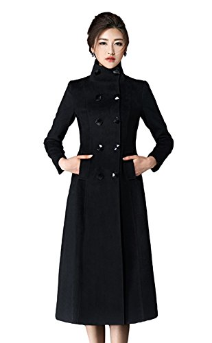 (Chickle Women's Double Breasted Lapel Walker Long Wool Coat Black XL)
