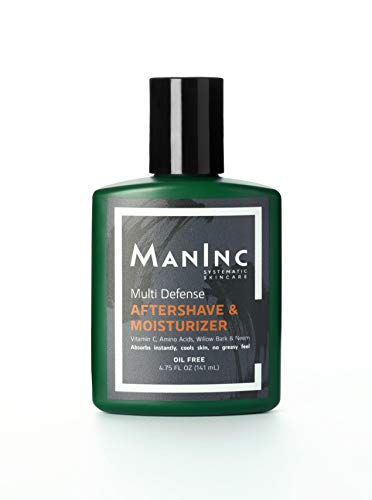 MANINC Skincare for Men - Aftershave & Moisturizer for Men, Oil Free, Cools Skin, Soothes Razor Burn, Improves Texture, Anti Aging, Lotion & Balm | With Vitamin C, Peptides and Willow Bark | 4.75 OZ